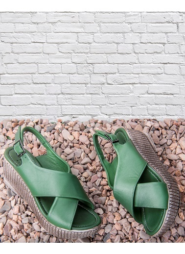 Beta Dolgu Topuk Sandalet Yeşil